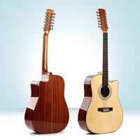 41 inch Sapele pick up wood guitar 12 strings cutaway acoustic guitar laminate folk guitar chord performance with pickup unisex