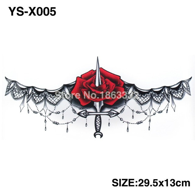 3D DIY BIG Chest Roses Dagger Tattoo Stickers Colorful Hot Flashes Waterproof Tatoo Body Art Temporary TATTOO Sticker