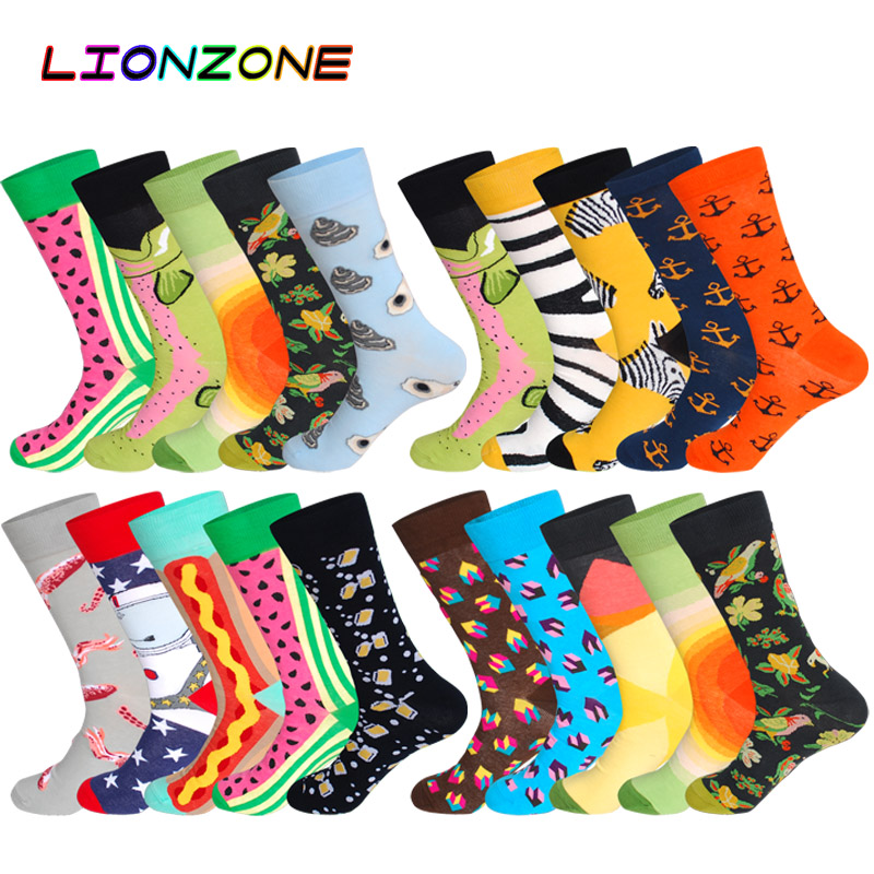 LIONZONE 5Pairs/Lot Combed Cotton Men   Socks   Plus Size Coolmax Colorful Pattern Business Funny Happy Dress Wedding Male Sox