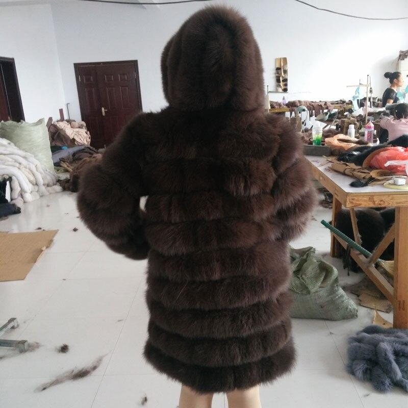 QD. YISHANG Le nouveau 2017 Renard manteau de fourrure