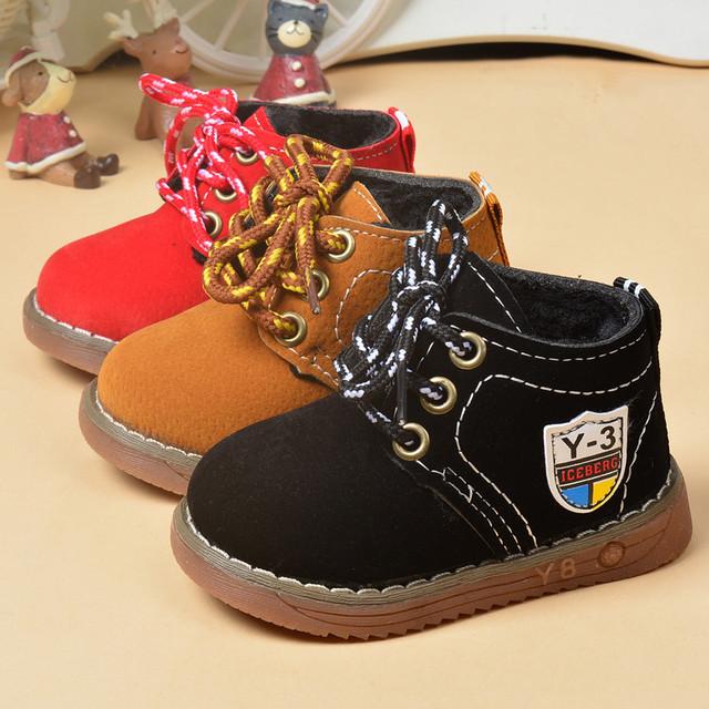 Invierno Del Bebé Del algodón de los muchachos zapatos de los bebés que espesan botas de motocicletas de moda botas de los niños zapatos calientes de la felpa niños botas frescas
