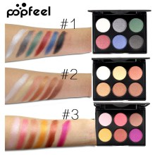 Popfeel Fashion Shimmer Glitter Eyeshadow Palette 6 Color Matte Eye Shadow Cosmetic Women Beauty Makeup Nice Gift