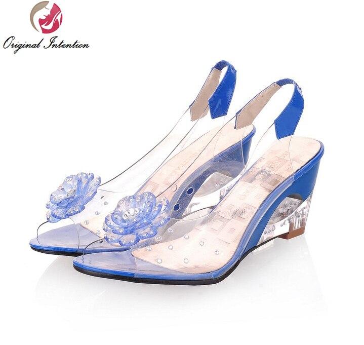 Nice Elegant Women Sandals Popular Transparent Flowers Wedges Sandals Red Black Blue Yellow Beige Shoes Woman