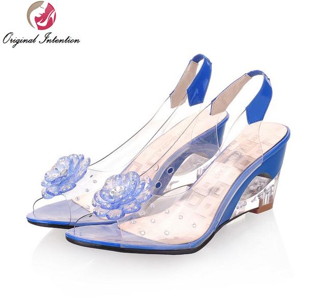 Original Intention Women Sandals Transparent Flowers Wedges Sandals Red Black Blue Yellow Beige Shoes Woman US Size 3.5-10.5