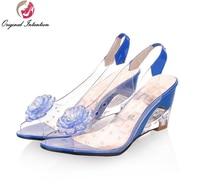 Original Intention Women Sandals Transparent Flowers Wedges Sandals Red Black Blue Yellow Beige Shoes Woman US Size 3.5 10.5