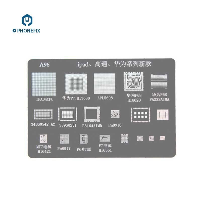 PHONEFIX Qualcomm Series BGA Reballing Stencil Template For IPad A96 MSM8917 For Samsung Huawei MSM8992 LG BGA IC Chip Repair