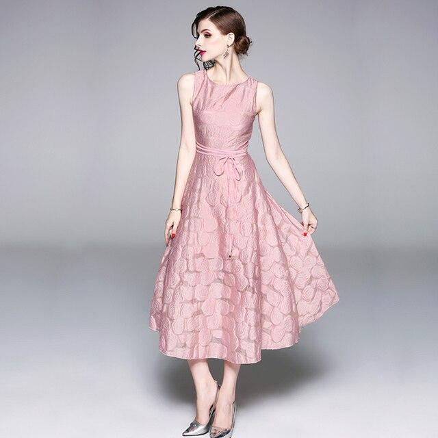 0775a5e079 Kobiety Sukienka 2018 Lato Runway Sukienki W Stylu Vintage Żakardowe  Szczupła O-neck Bez Rękawów