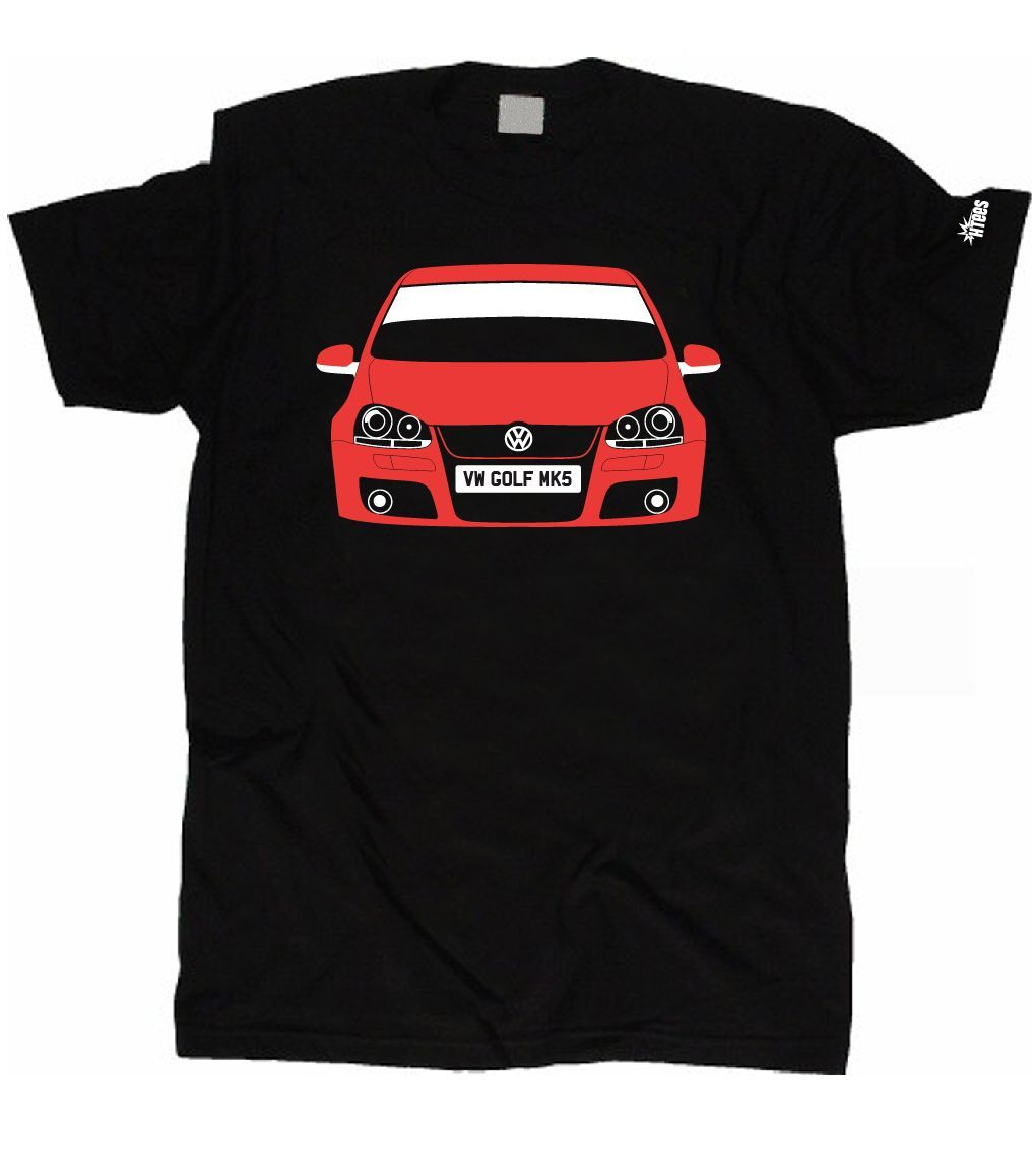CUSTOM HTees T-shirt - VOLKSWAGEN VW GOLFer MK5, Pick car colour & plate, S-XXXL