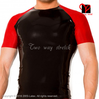 Black And Red Sexy Latex shirt short sleeves Rubber undershirt round collar Top Tee shirt plus size XXL SY 068