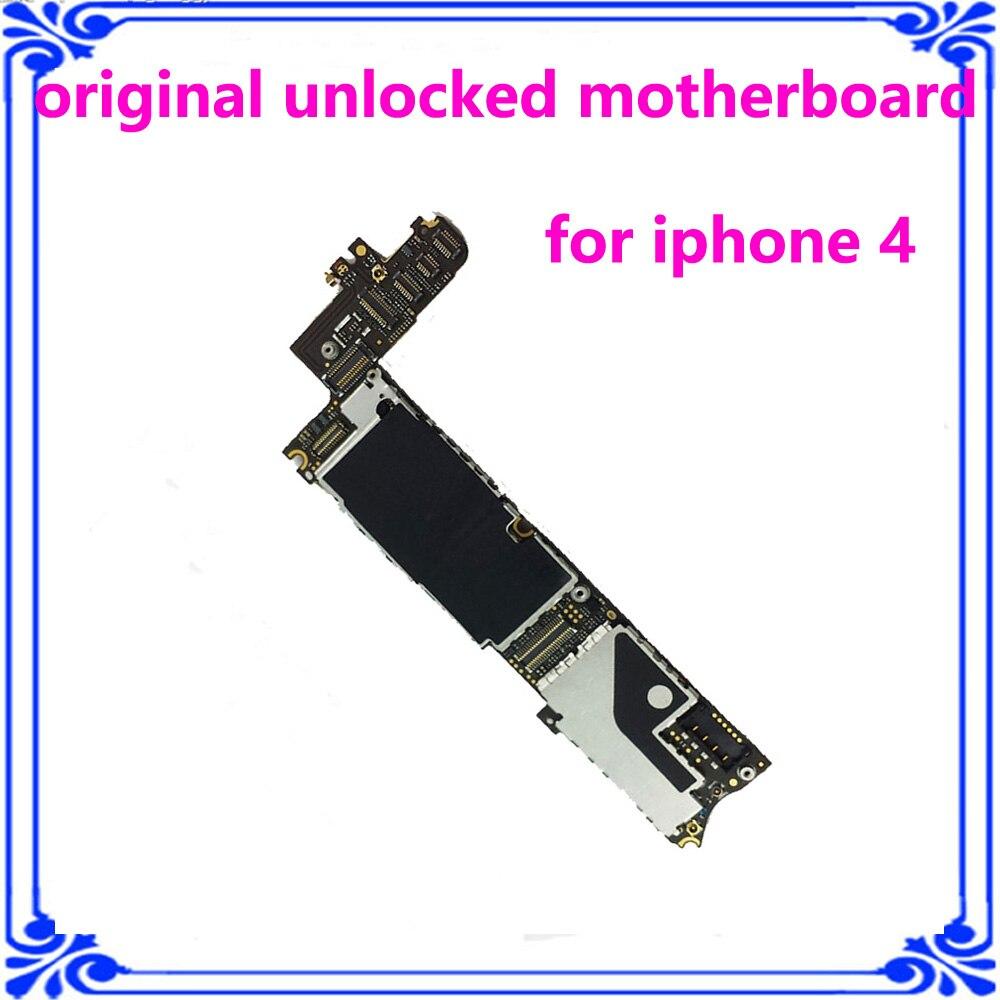 imágenes para 8 GB original placa lógica placa madre para el iphone 4 instalar el sistema IOS 100% probado desbloqueado envío iCould placa principal placa base