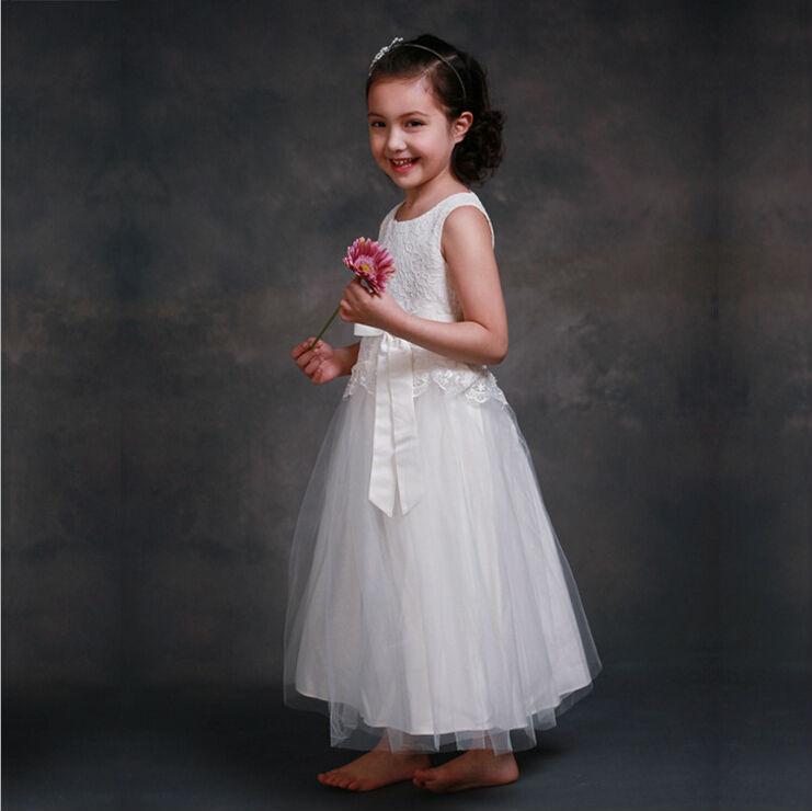 White Flower Girls Dresses For Wedding Gowns Long Spring Pretty Flower Girls Dresses Lace vestido longo Mother Daughter Dresses