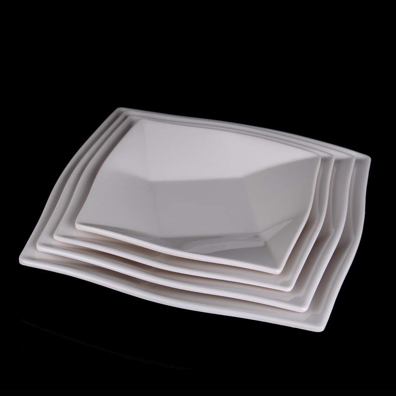 plastic square dinner plates melamine tableware irregular plain white fruit plates snack dish creative kitchen food dish platein dishes u0026 plates from home