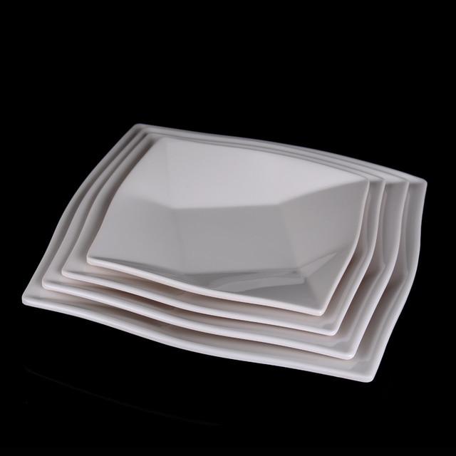 Plastic Square Dinner Plates Melamine Tableware Irregular Plain White Fruit Plates Snack Dish Creative Kitchen Food & Plastic Square Dinner Plates Melamine Tableware Irregular Plain ...