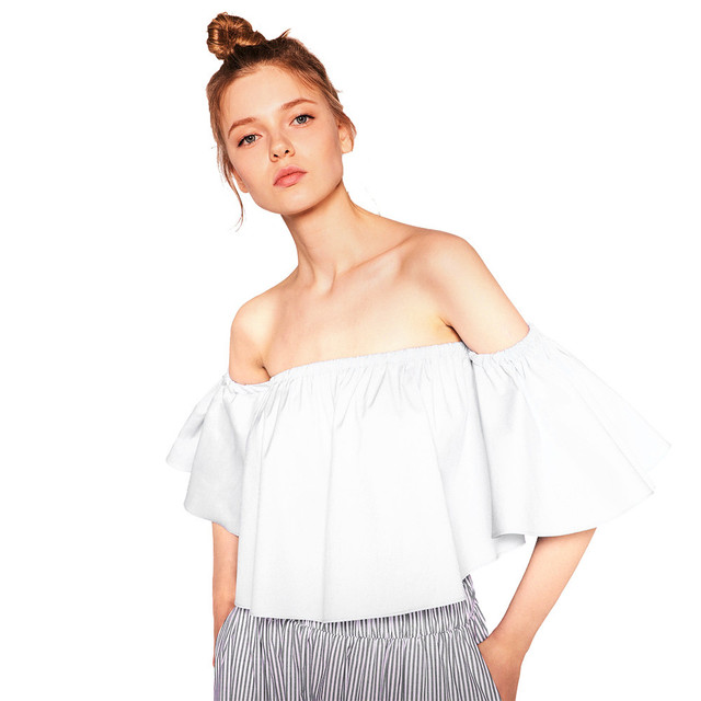 caa183a415403 2019 NEW Summer Fashion Trend Women s Smock Top Off Shoulder Cute Brief  Ruffles Girl s PETITE Structured Bardot Top Short Blouse