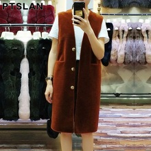 Ptslan Women's Wool Coat Lamb Fur Vest/ Jacket /overcoat Women's Winter Warm  Sheep Fur Vests Outwear