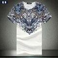 Barroco de la moda de verano para hombre camiseta impresa camiseta de los hombres de algodón hombres clothing camiseta de manga corta nuevo 2017