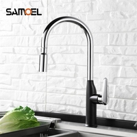Creative Chrome Brass Kitchen Faucet Single Hole Deck Mount Pull Out Kitchen Mixer Taps Sprayer