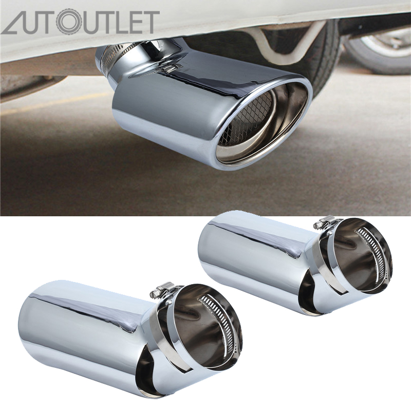 AUTOUTLET for Dual Stainless Steel Universal Exhaust Tail Pipe Tip For Range Rover Vogue L322 Diesel