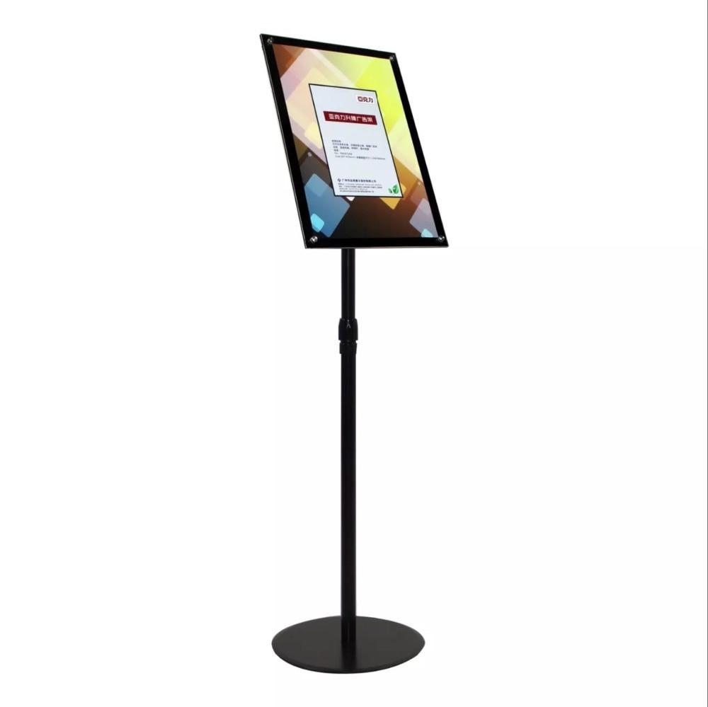 A3 Adjustable Pedestal Sign Holder Floor Stands Rack Black Acrylic Frames Advertising Banner Photo Menu Literature Display Frame Card Holder & Note Holder