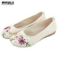 Chinese Vrouwen Bloem Flats Slip On Katoen Casual Ronde teen Oxford Ballet Schoenen Voor Vrouw Linnen Ballerina Platte Size 42