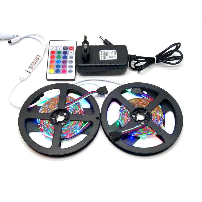 10M LED pásek sada SMD 3528 RGB s 24Keys IR řadič s 12V 3A napájecí adaptér