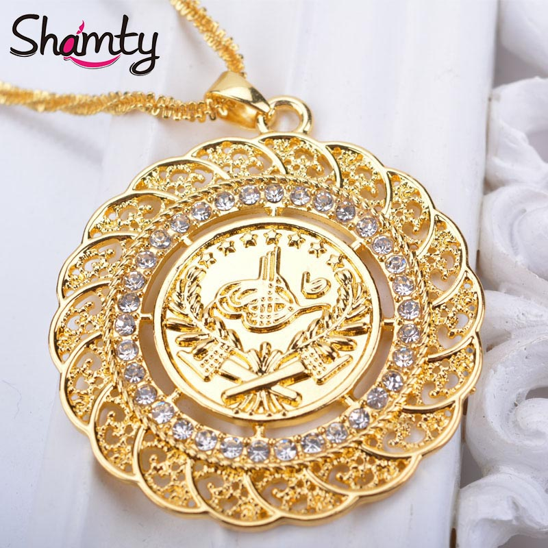 Shamty Pendant Necklace Arab Coin For Women Pure Gold Color Turkey Coin Jewelry Wholesale Small Chain Turk Coins Hypoallergenic