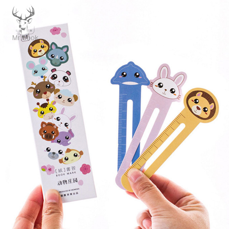 30pcs/lots Cute Animal Farm Paper Bookmark Book Holder Kawaii Stationery For Children School Supplies Kawaii Student Gifts