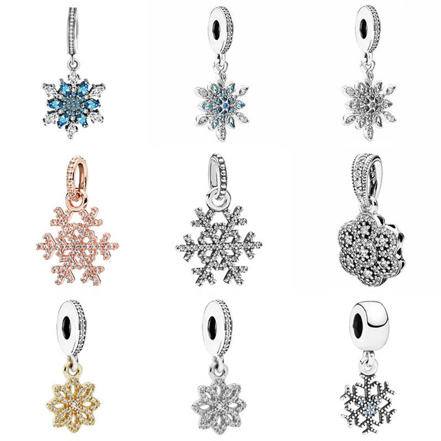 ceda983cad314 US $6.34 31% OFF Sparkling Snowflake Lace Botanique Crystallised Floral  Pendant Charm Fit Pandora Bracelet 925 Sterling Silver Bead Charm  Jewelry-in ...
