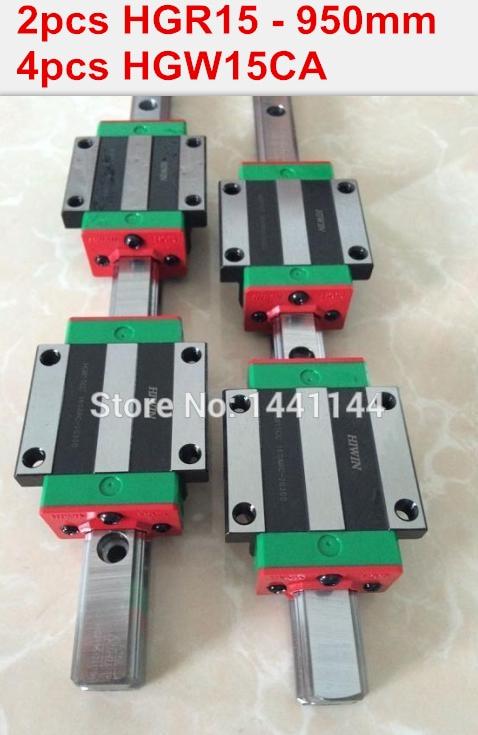 ФОТО 2pcs 100% original HIWIN rail HGR15 - 950mm rail  + 4pcs HGW15CA blocks for cnc router