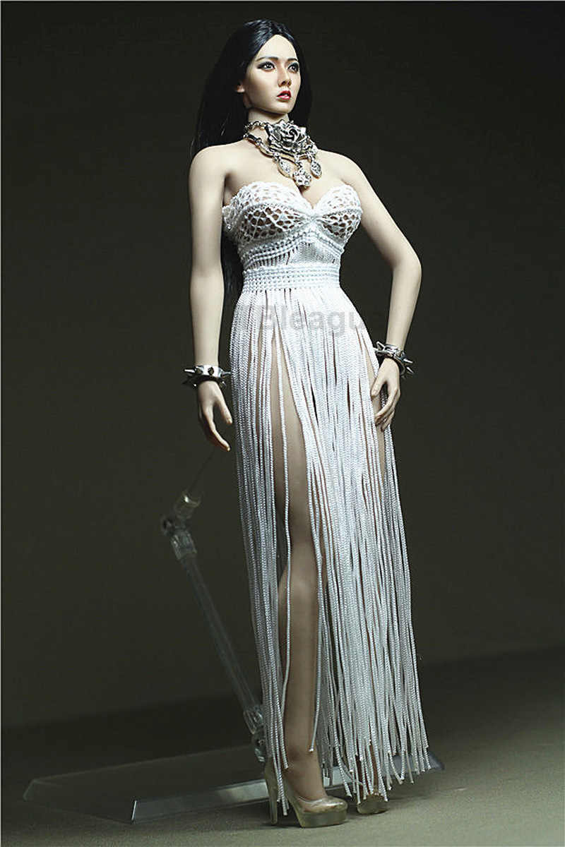 """1//6 Scale Evening Dress Skirt Clothes Strapless Long Sleves or 12/"""" Figure Body"""