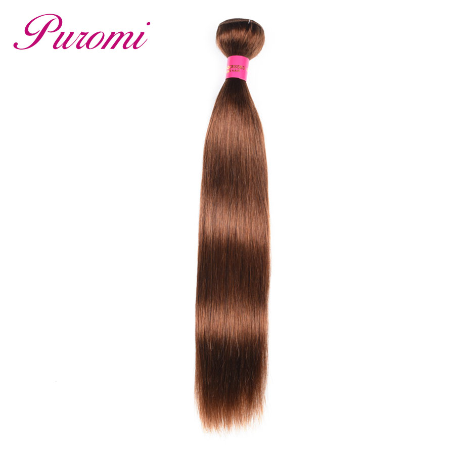 Puromi Hair Straight Bundles Brown Color #4 Peruvian Hair Bundles Double Drawn Human Hair Weave Non Remy 1 Pack ...