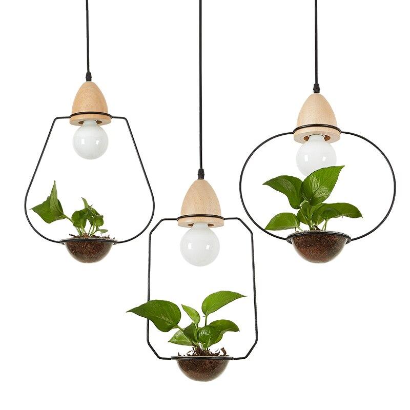 Pendentif en bois de campagne suspendu lumière ciel jardin nordique Pot de fleur pendentif lampe décorative pour la maison éclairage de Restaurant