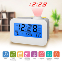 EAAGD Digital Snooze Projection Alarm Clock With 3 5 LED Display Cube Office Desk Alarm Clock