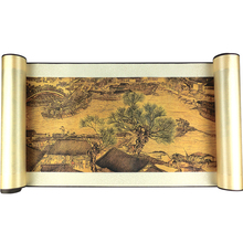 лучшая цена Chinese Painting Along the River During the Qingming Festival panorama Silk Canvas Famous picture Print Wall Home decor art gift