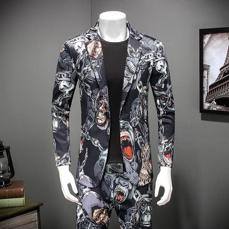 2018 New 3d Print Blazer Pattern Fancy Prom jacket For Men Casual Party Prom Mens Stylish Blazer Jacket Men Plus Size 4xl-in Blazers from Men's Clothing    1