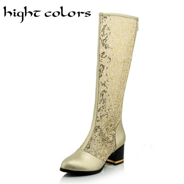 New Fashion Pointed Toe Women Knee High Boots Thick Heels Zipper Sexy Cutout Mesh Boots Summer Cool Boots Gold Women's Shoes