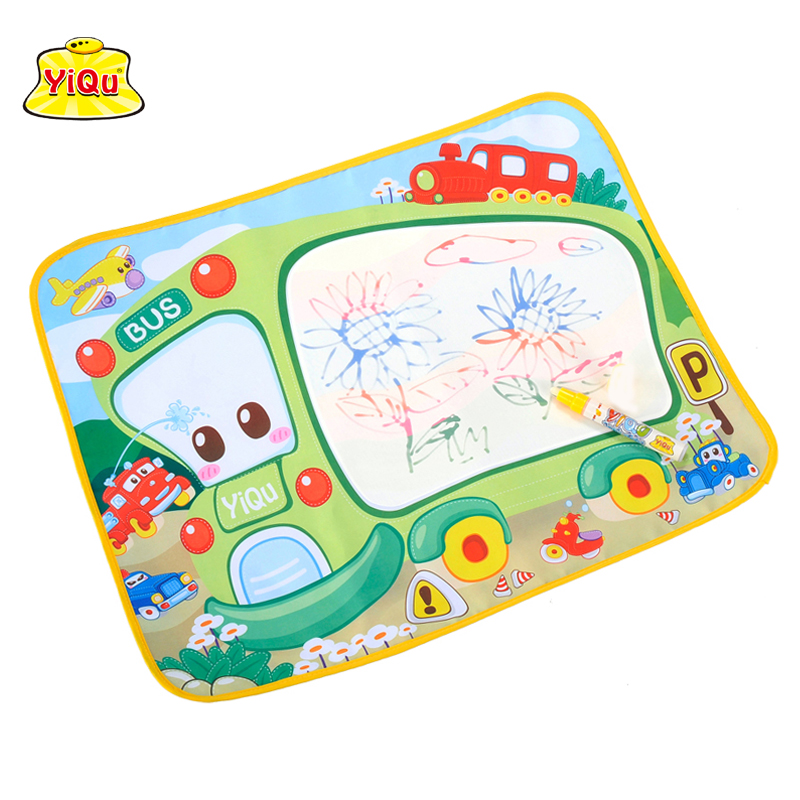 48*58cm Magic Water Doodle Mat with 1 Magic Pen/Water Drawing Board/Water Mat/aquadoodle mat Cute bus reusable