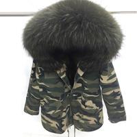 2016 New winter women's fur hooded coat with huge raccoon fur collar, warm 100% real fox fur liner camouflage parka women jacket