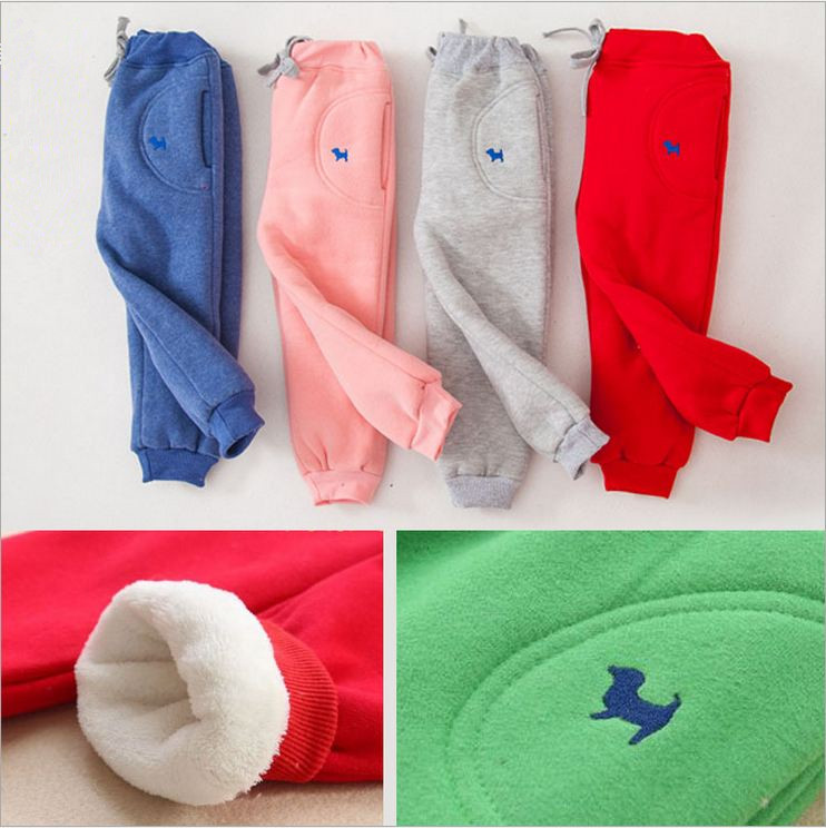 все цены на Kids fashion pants for boys girls cotton fleece thicken pants children warm casual pants trousers baby boys girls sport clothes