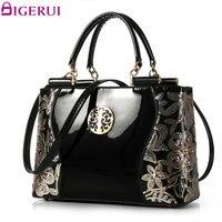 DIGERUI Women Patent Leather Handbags Good Quality Embroidery Vintage Shoulder Bags Female Messenger Bag A846
