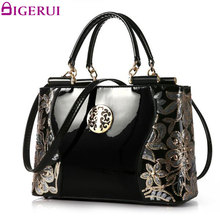 DIGERUI Handbag Female Women Patent Leather Handbags Good Quality Embroidery Vintage Shoulder Bags Female Messenger Bag