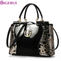 DIGERUI Women Patent Leather Handbags Good Quality Embroidery Vintage Shoulder Bags Female Messenger Bag A846