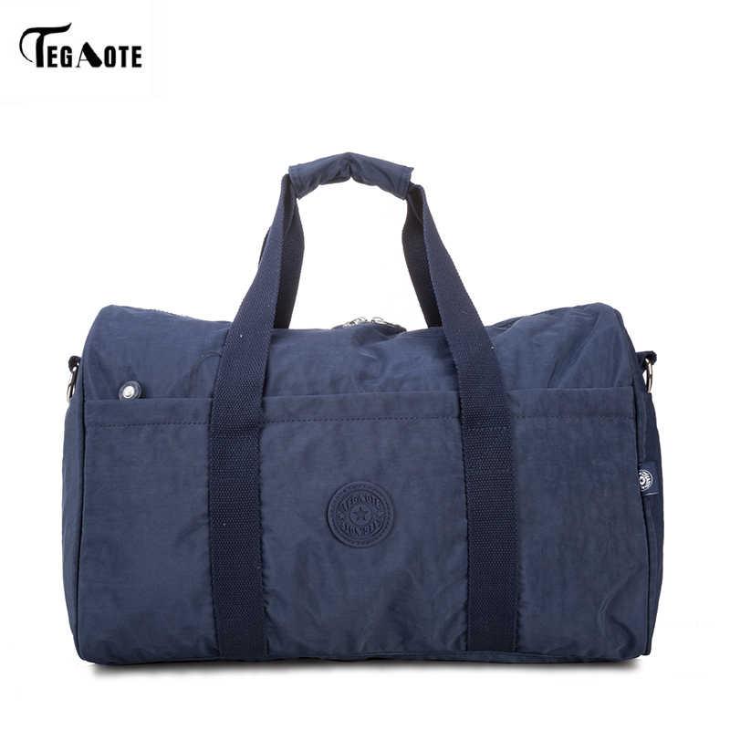 TEGAOTE 2017 мужские дорожные сумки черная багажная нейлоновая спортивная сумка сумки портативные дорожные сумки водонепроницаемые выходные Сумки Большая большая сумка