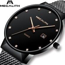 MEGALITH Heren Horloges Top Brand Luxe Waterdichte Quartz Horloges Eenvoudig Ontwerp Analoge Rvs Mesh Horloge Voor Mannen