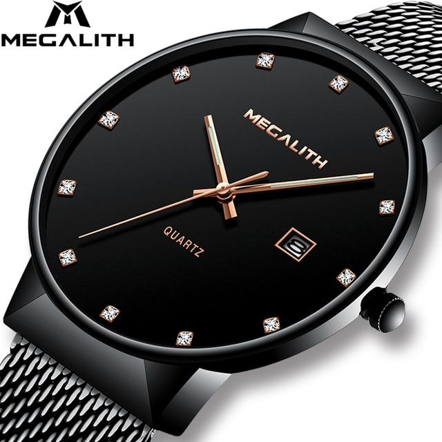 MEGALITH Mens שעונים למעלה מותג יוקרה עמיד למים קוורץ שעוני יד פשוט עיצוב אנלוגי נירוסטה רשת שעון לגברים
