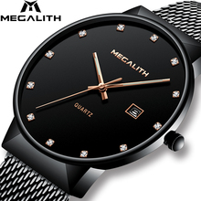 Relojes para hombre MEGALITH relojes de pulsera de cuarzo impermeables de lujo de primera calidad de diseño Simple reloj de malla de acero inoxidable para hombre