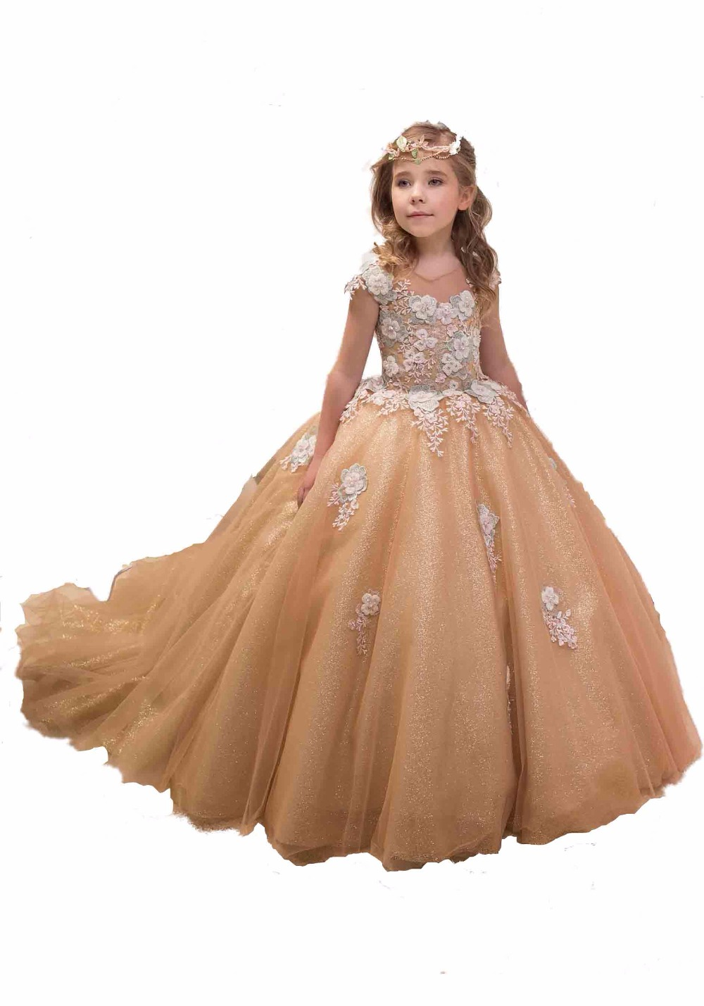 Gold Sequin Tulle   Flower     Girl's     Dresses   Lace Floor Length   Girl   Birthday Gown Long Sleeve First Communion Forml Pageant   Dresses