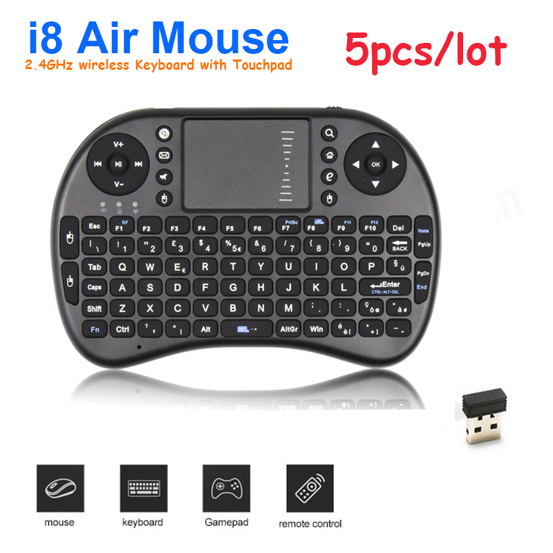 5 pcs/lot Lowest price i8 Mini 2.4GHz Wireless Keyborad Mouse With Touchpad Handheld For Android/Google TV BOX Mini PC Tablet