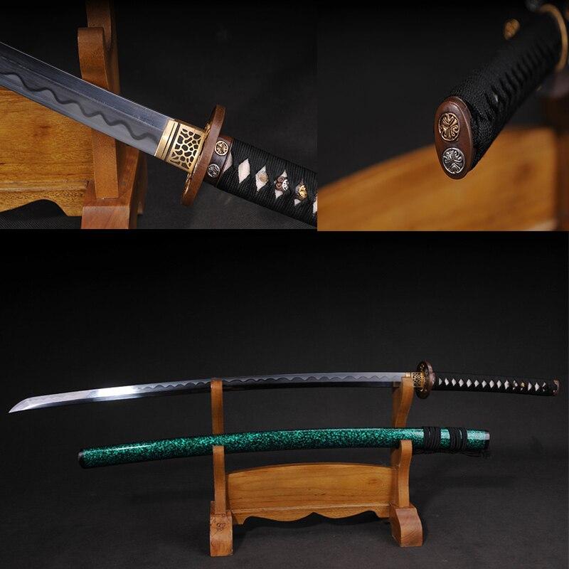 Kování bílé skládací skládací jen samurajský meč Rosewood Full Tang měděné kování Ručně vyřezávané tepelné zpracování
