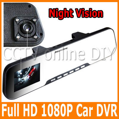 New Rear View Mirror HD 1080P 5MP Pixels car dvr video camera recorder motion detection free shipping